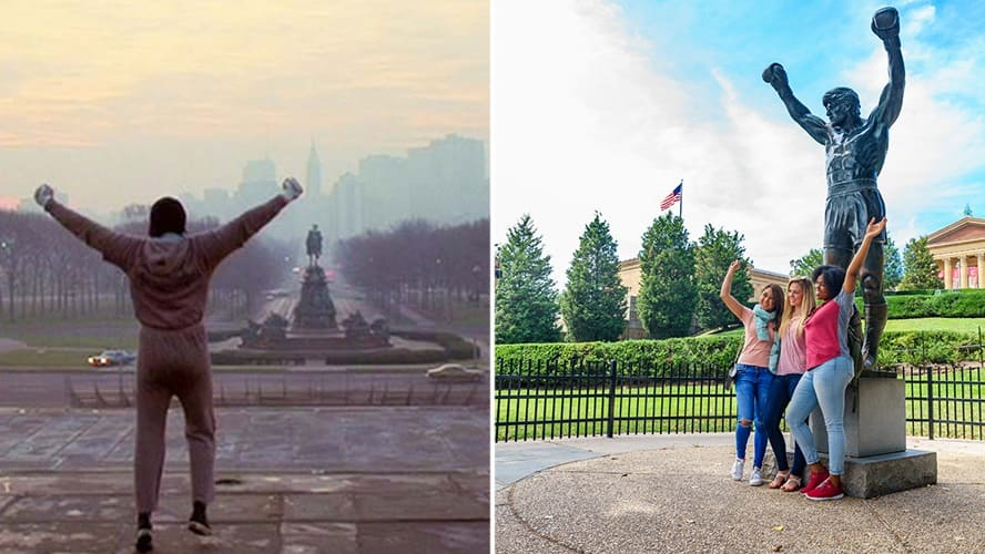 Sylvester Stallone in 'Rocky.' / Group of a young woman taking a photo near Rocky Statue in Philadelphia.