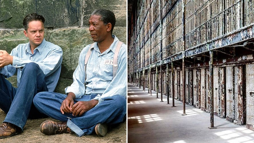 Tim Robbins and Morgan Freeman in 'Shawshank Redemption' / Interior shot of Ohio State Reformatory.