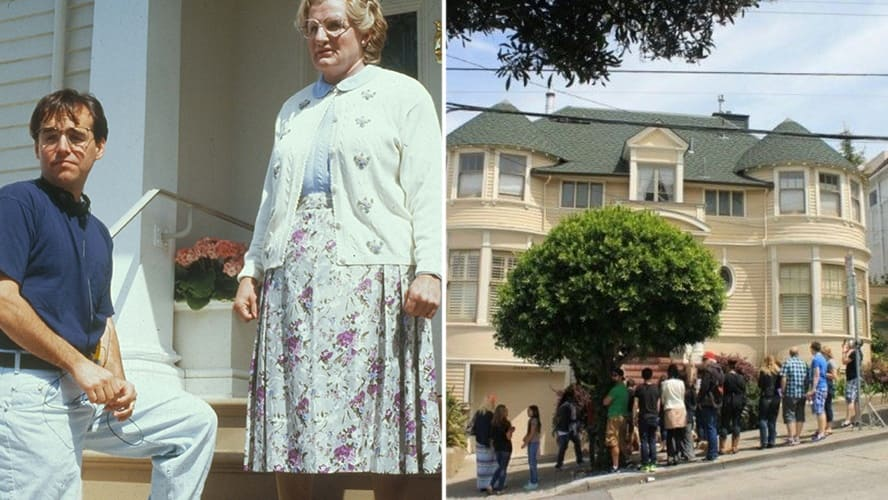 Robin Williams as Mrs. Doubtfire with director Chris Columbus in the 'Mrs. Doubtfire' movie set. / Visitors stand near the Mrs. Doubtfire House.