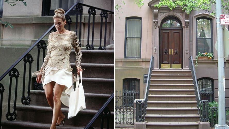 Sarah Jessica Parker as Carrie Bradshaw in 'Sex and the City' / Exterior shot of Carrie Bradshaw's House in NY.