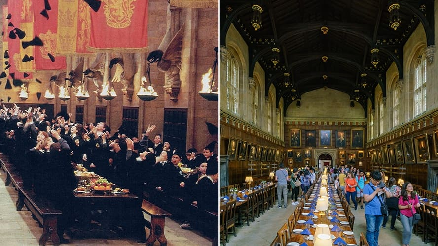 Scene from the 'Harry Potter and the Sorcerer's Stone' in the famous Great Hall. / Interior view of the famous Great Hall in Christ Church Cathedral.