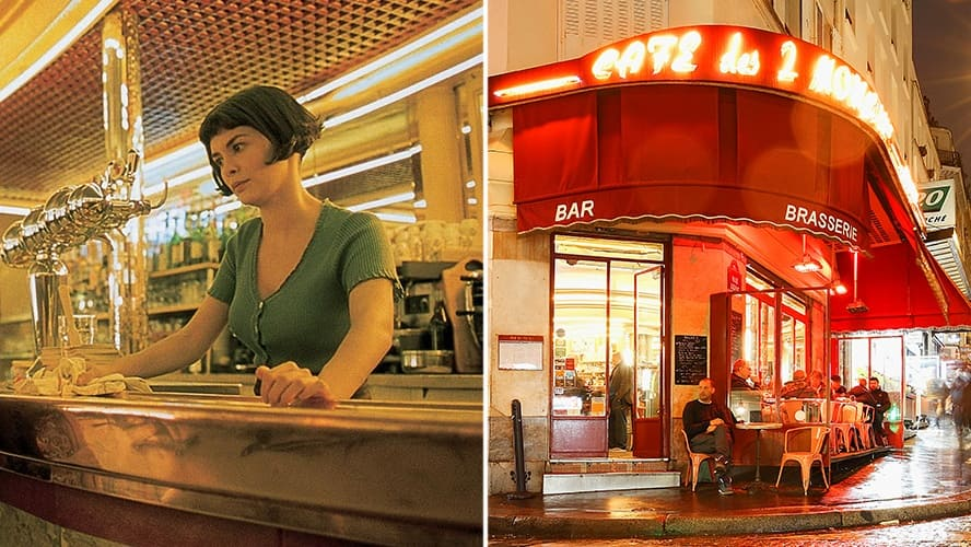 Audrey Tautou in a scene from 'Amelie.' / Exterior shot of Café des Deux Moulins in the evening.