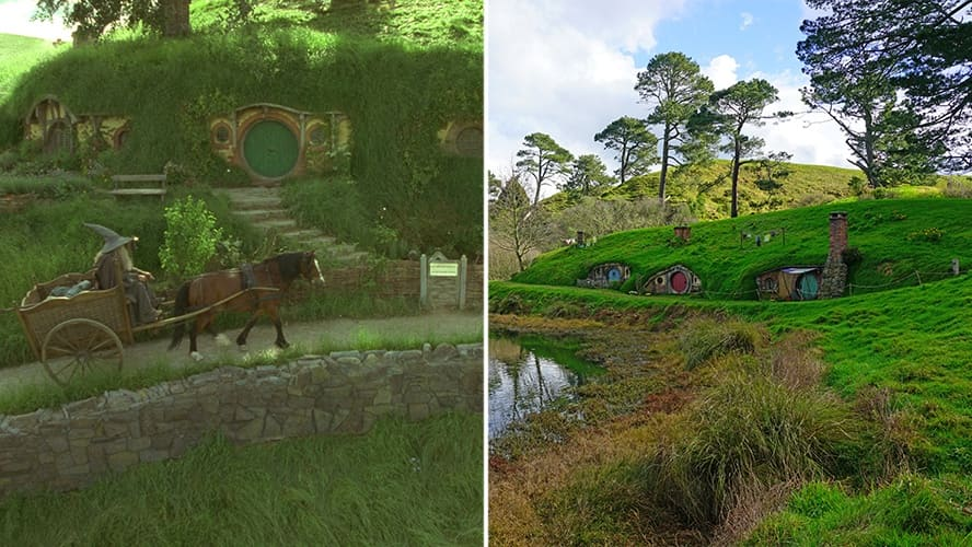 Ian McKellen as Gandalf the Grey, coming to the Hobbiton in the 'Lord of the Rings.' / Alexander Farm in Waikato, New Zealand.