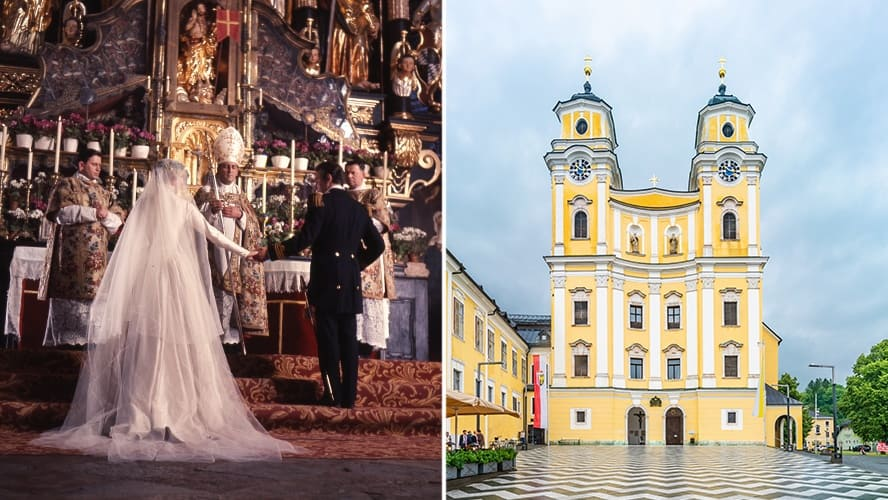 Julie Andrews and Christopher Plummer in a wedding scene from the 'Sound of Music' / Exterior shot of the Collegiate Church of St Michael, in Mondsee town, Upper Austria.