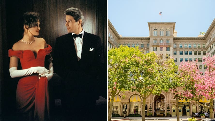 Julia Roberts and Richard Gere in 'Pretty Woman.' / Exterior shot of The Beverly Wilshire Hotel.