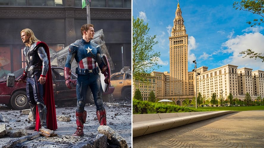 Chris Hemsworth and Chris Evans in 'The Avengers.' / Public Square in Cleveland, Ohio.