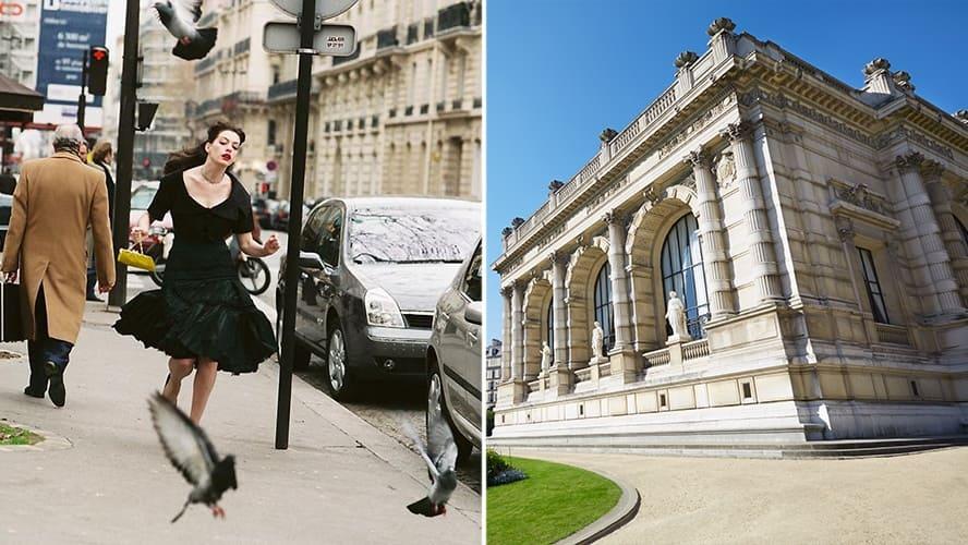 Anne Hathaway in 'The Devil Wears Prada.' / Palais Galliera exterior and garden view in Paris.