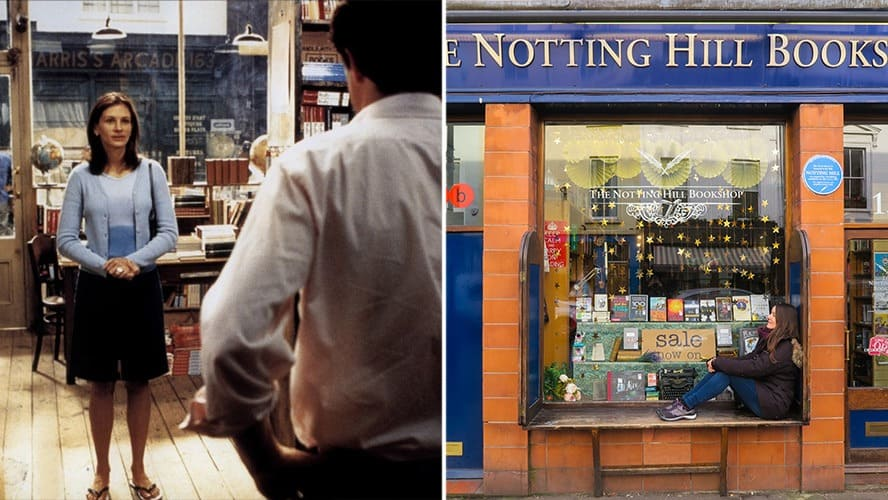 Julia Roberts and Hugh Grant in a scene from 'Notting Hill.' / A woman is sitting in front of the famous Notting Hill bookshop.