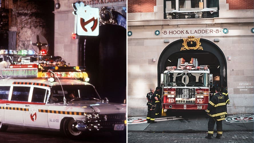 Scene with the 'Ghostbusters' car near the Hook & Ladder Company 8 Firehouse. / Hook & Ladder Company 8 Firehouse in NY.