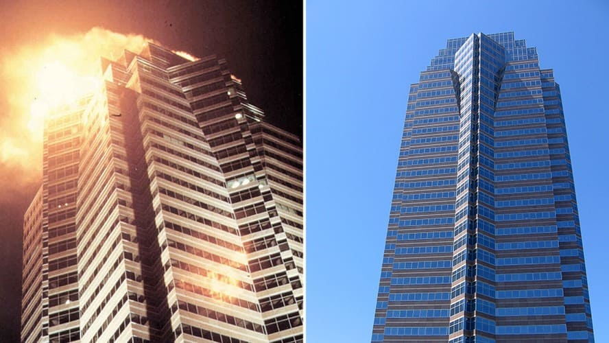 Nakatomi Plaza on fire, a scene from 'Die Hard.' / The building of Fox Plaza in LA.