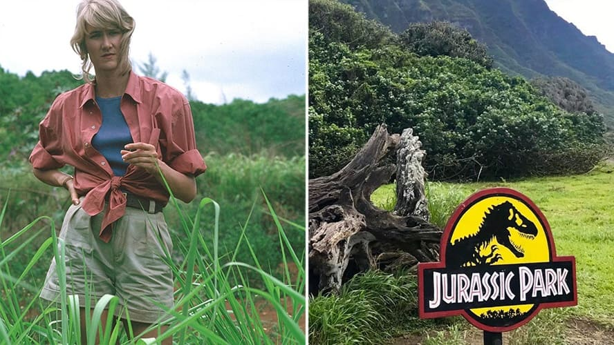 Laura Dern in 'Jurassic Park.' / Photo from Kualoa Ranch in Hawaii, a 'Jurassic Park' sign in the front and a view to the mountain in the back.