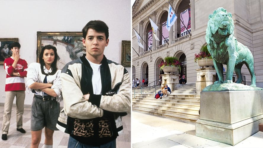 Matthew Broderick, Mia Sara and Alan Ruck in 'Ferris Bueller's Day Off.' / Entrance to The Art Institute of Chicago.