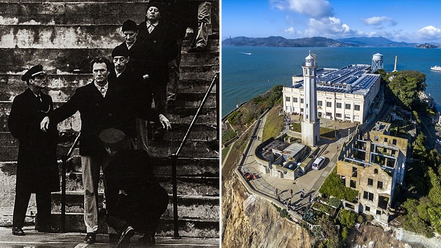 Clint Eastwood in 'Escape From Alcatraz.' / Aerial view of the prison island of Alcatraz in San Francisco Bay.