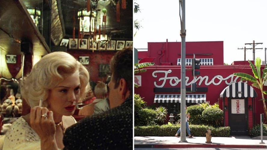 Kim Basinger in L.A. Confidential. / Exterior shot of Formosa Café in LA.