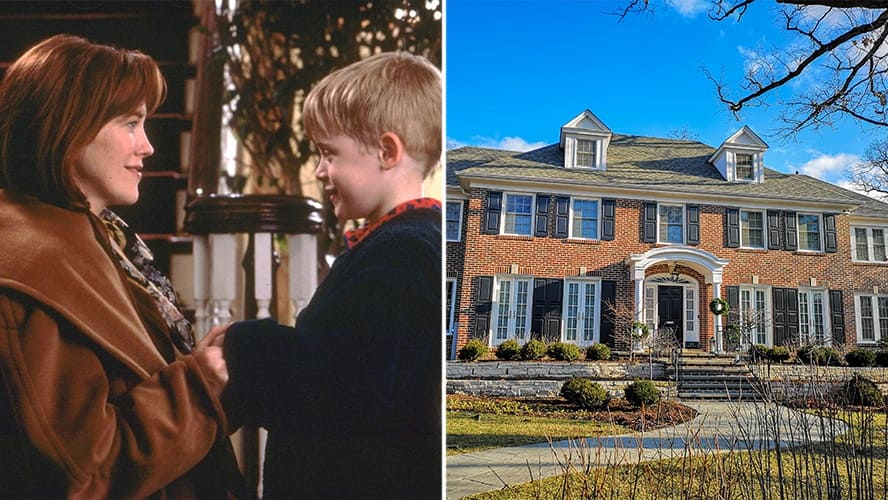 Macaulay Culkin and Catherine O'Hara in 'Home Alone.' / Famous iconic mansion of Kevin McCallister.