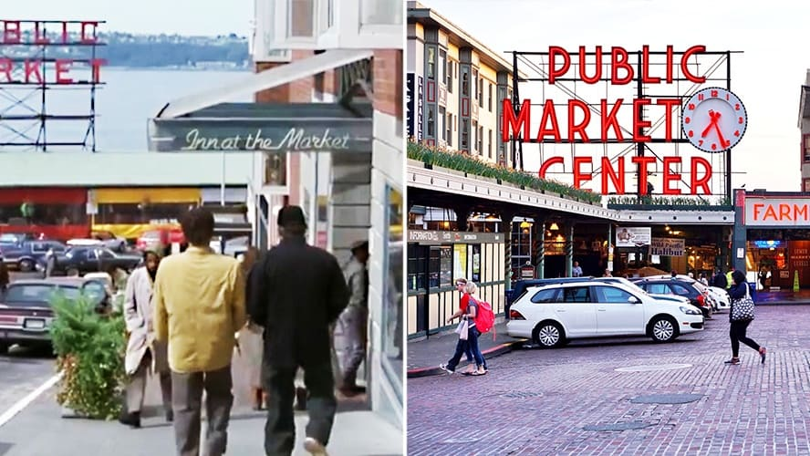 Scene from 'Sleepless in Seattle,' the entrance to the Pike Place Market is in the background. / The Pike Place Market in Seattle.