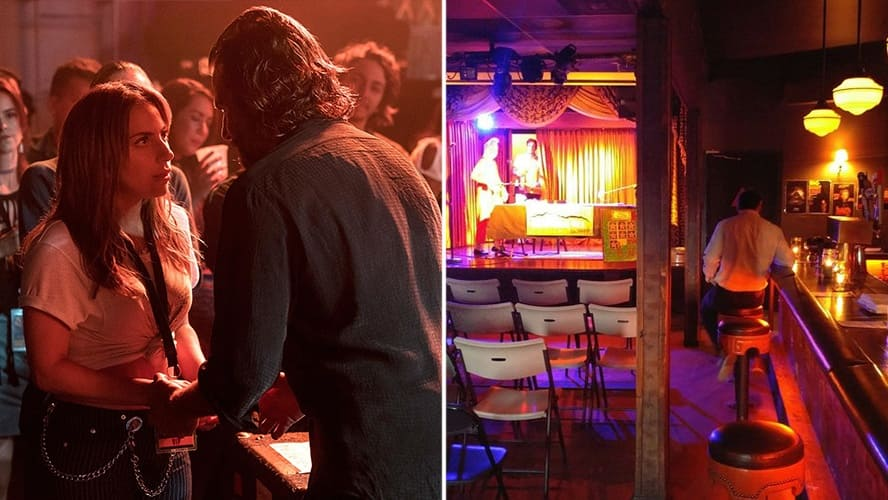 Lady Gaga as Ally and Bradley Cooper as Jack in 'A Star Is Born.' / Interior shot of The Virgil.