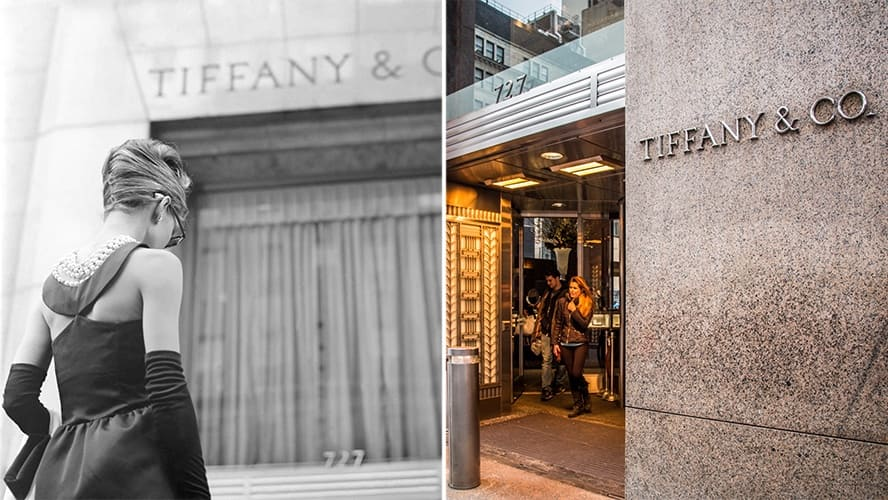 Audrey Hepburn in 'Breakfast at Tiffany's,' the entrance to Tiffany & Co. is seen on the background. / Exterior view of Tiffany & Co.