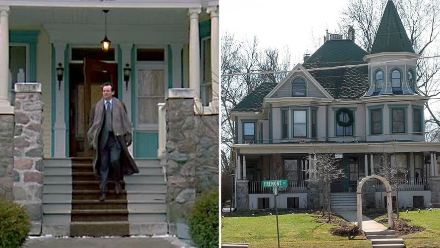 Bill Murray as Phil Connors in 'Groundhog Day.' / Exterior shot of Phil Connor's house.
