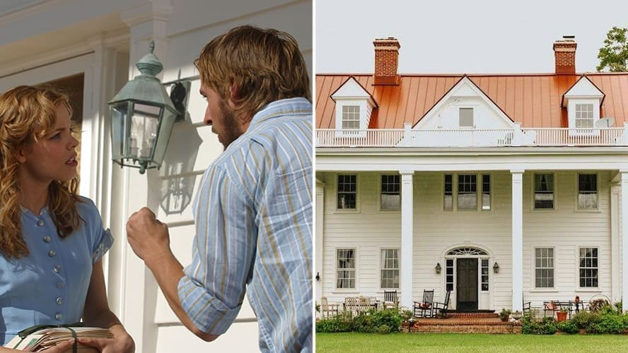 Rachel McAdams and Ryan Gosling in 'The Notebook.' / Exterior shot of Noah's Home in South Carolina.