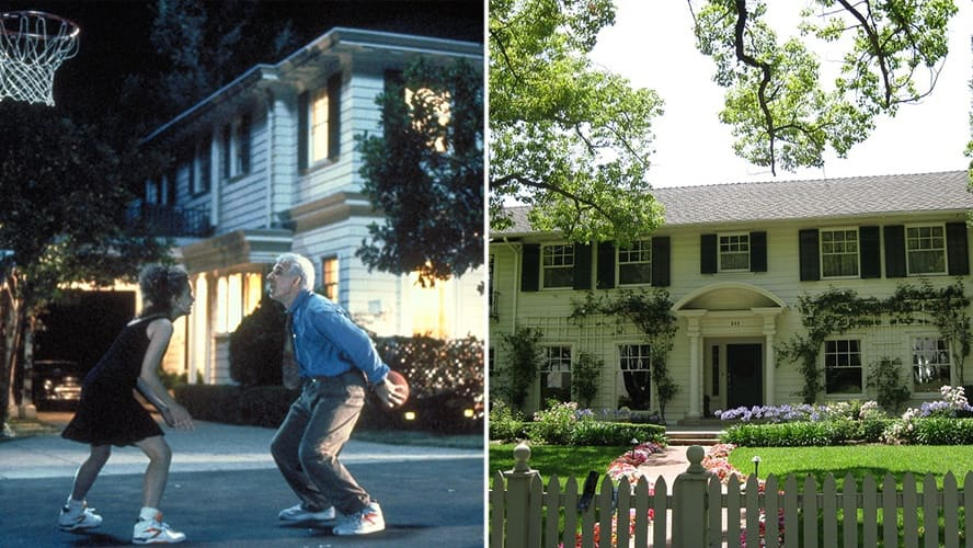 Steve Martin and Kimberly Williams in 'Father of the Bride.' / The Banks' home in California.