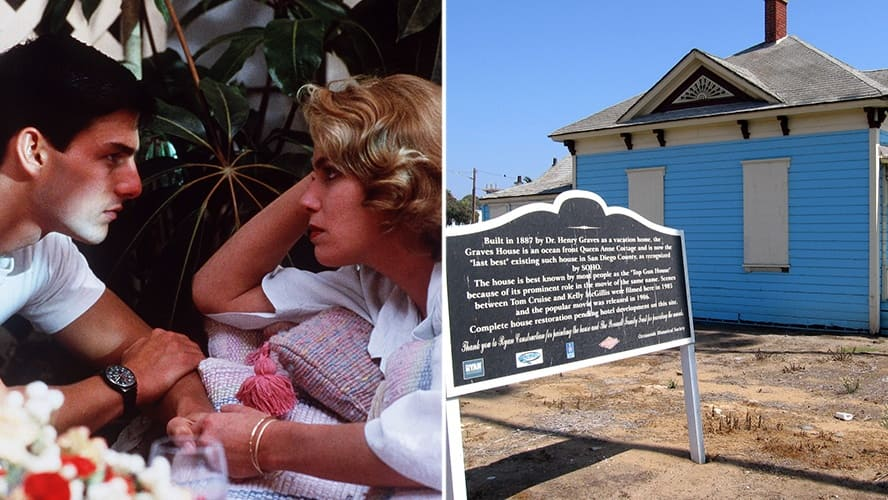 Tom Cruise and Kelly McGillis in 'Top Gun.' / The blue 'Top Gun' cottage in California.