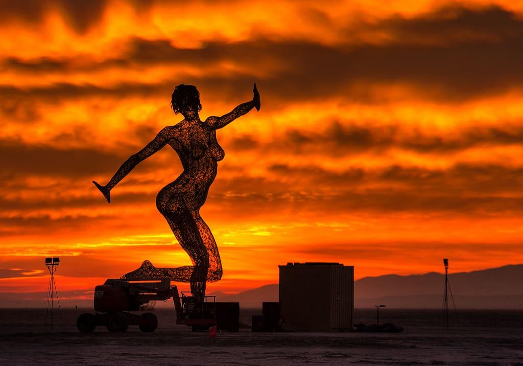 Burning statue