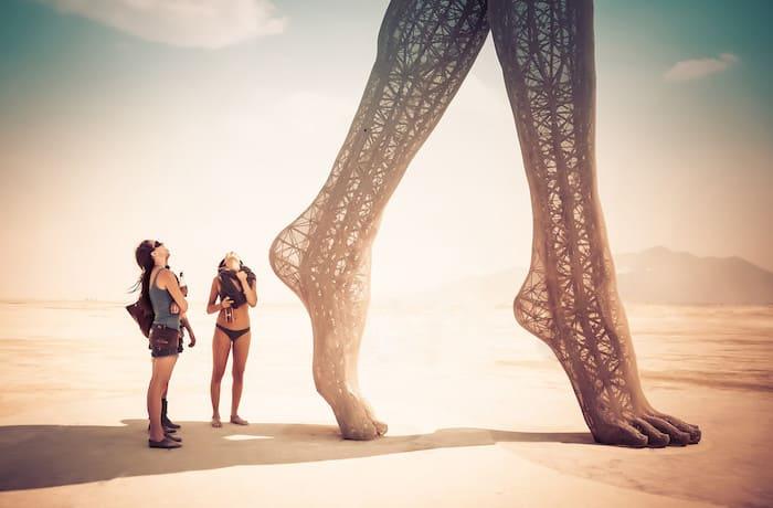 Huge feet at Burning Man