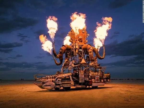 Burning Man Sculpture with fire