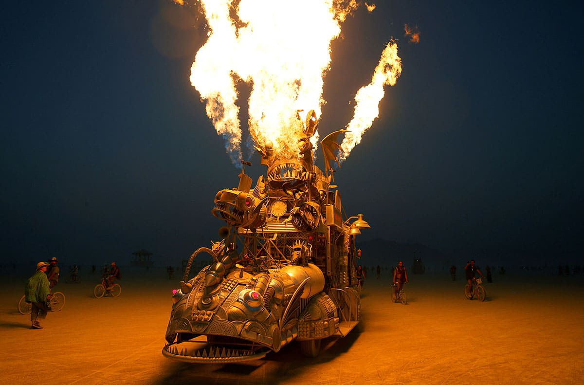 Truck sculpture burning at Burning Man