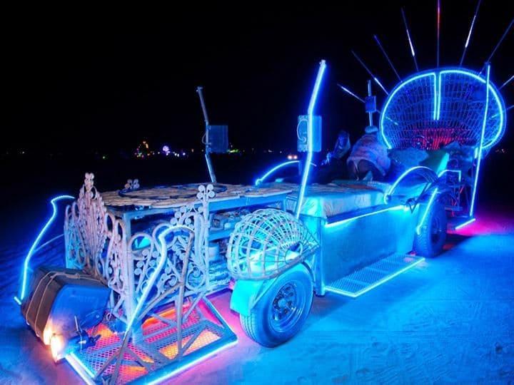 Blue light up sculpture at Burning Man