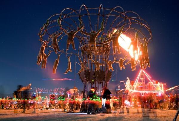 Burning Man sculpture and lights