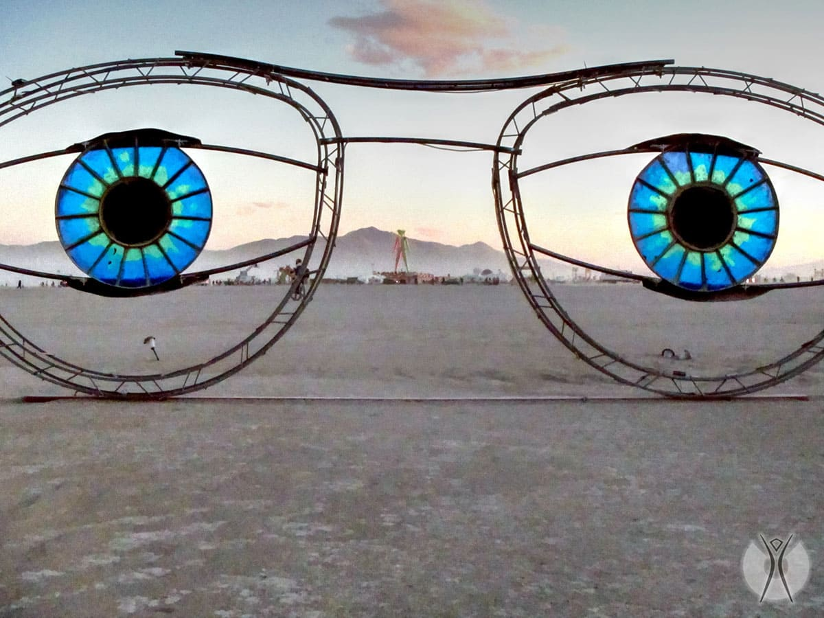 A huge pair of glasses on the beach