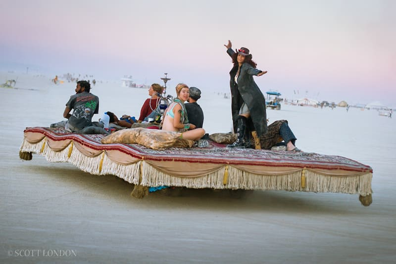 A few people chilling on a magic carpet
