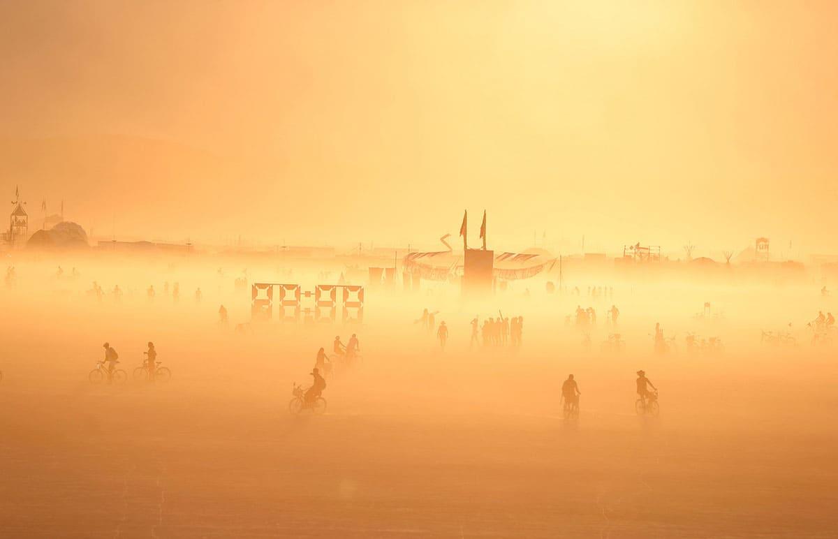 People riding bikes at Burning man