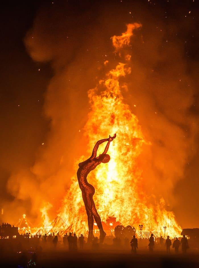 Sculpted man on fire