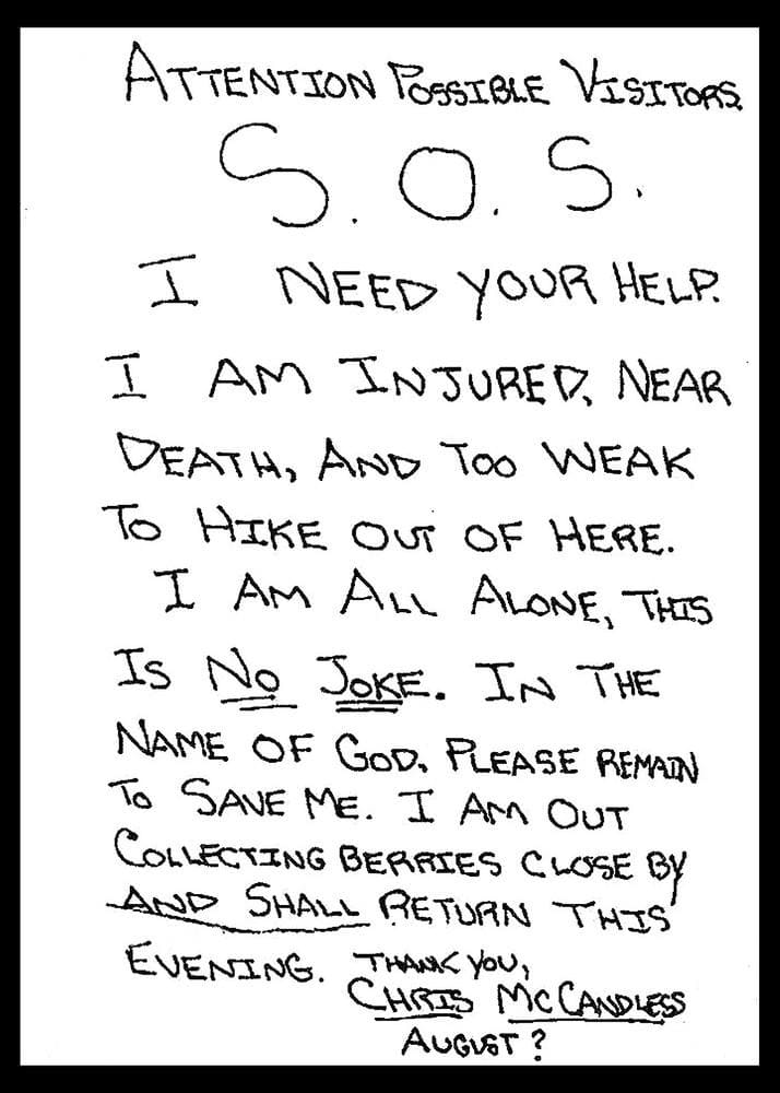 Chris McCandless's Note