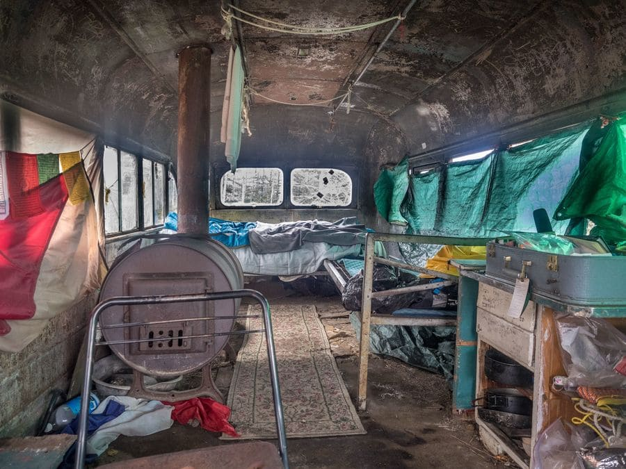 The inside of Chris McCandless' Magic Bus on the Stampede Trail