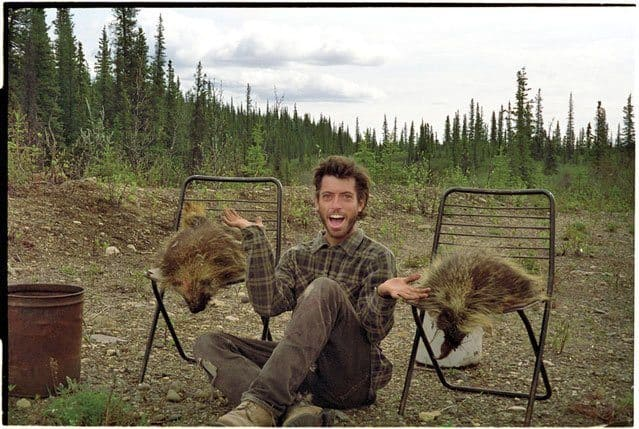 McCandless in Alaska with a pair of porcupines