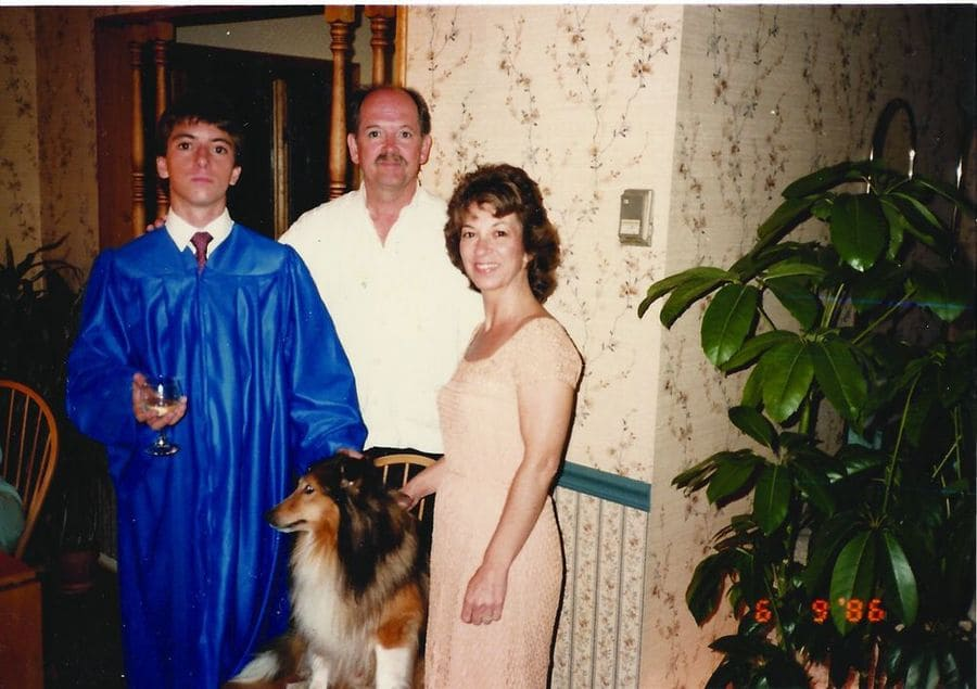 Chris with his parents