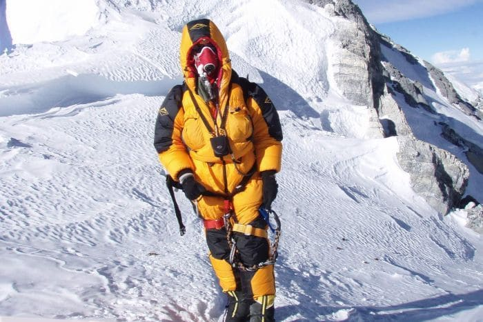 Lincoln Hall heading down after reaching the summit of Mount Everest.
