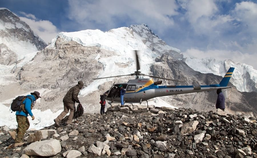 helicopter in Mount Everest base camp and mount Nuptse, Nepal