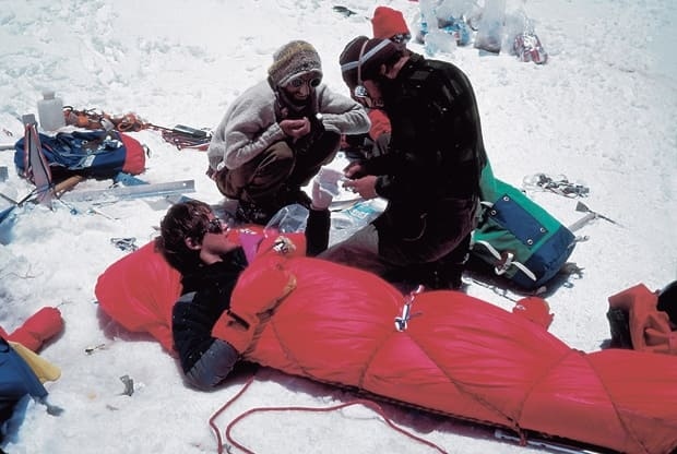 Lincoln is treated for a case of frostbite at about 6000m on the 7066m-high Mt Dunagiri in 1978.