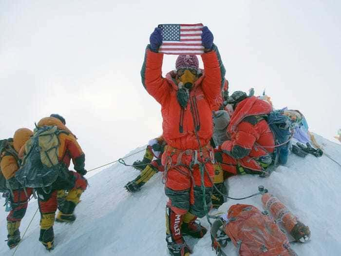 Climbers on Everest's summit