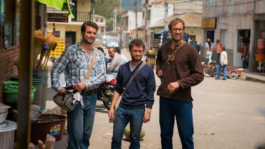 Jungle publicity still, Daniel Radcliffe, Alex Russell, Joel Jackson