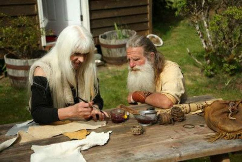 Mick Dodge and Jackie painting together