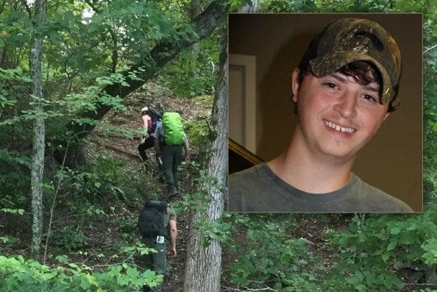Austin Bohannon and the search team in the forest