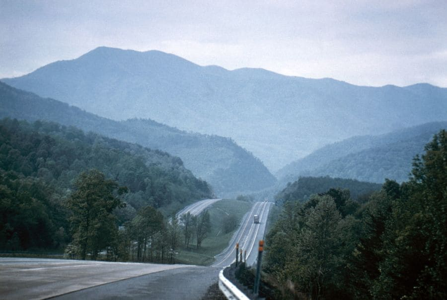 Smoky Mountains Highway. View Of The Smoky Mountains In Tennessee,