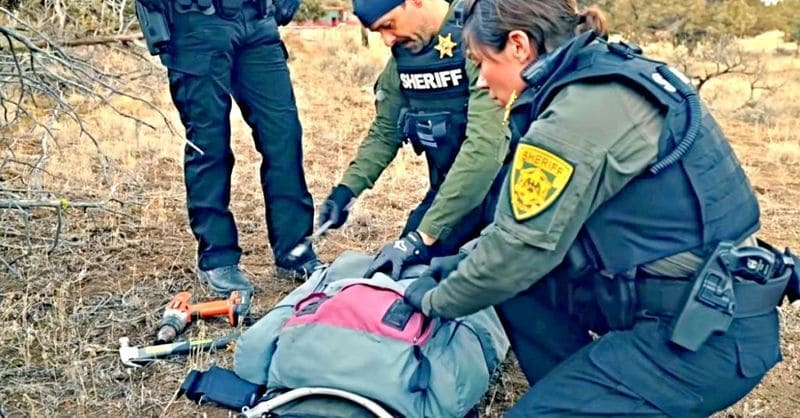 Sheriff's search through a backpack
