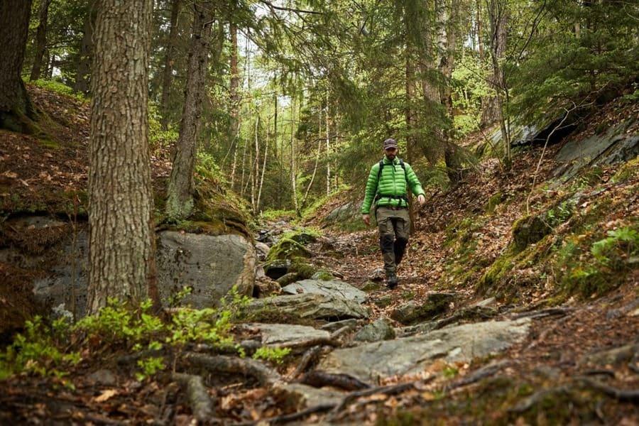 A man following a hiking trail